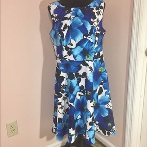 Blue and White Floral Short Sleeve Dress